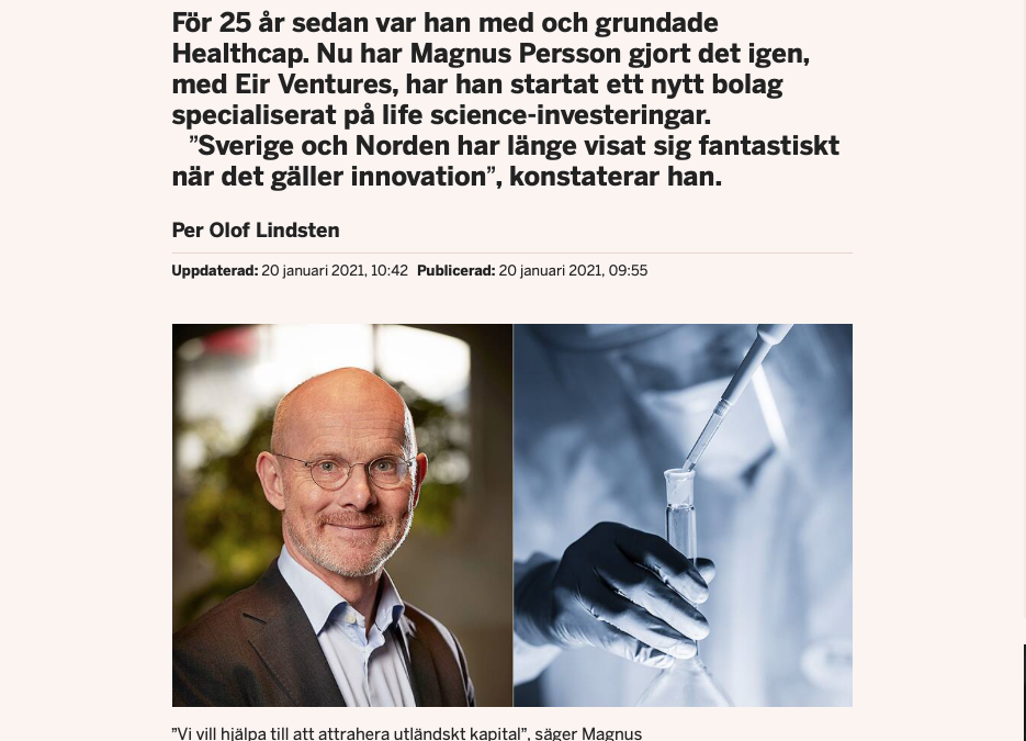 Interview with Eir Ventures' Magnus Persson in Dagens Industri
