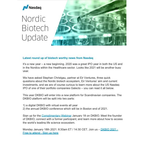 Interview with Eir Ventures' Stephan Christgau in NASDAQ newsletter
