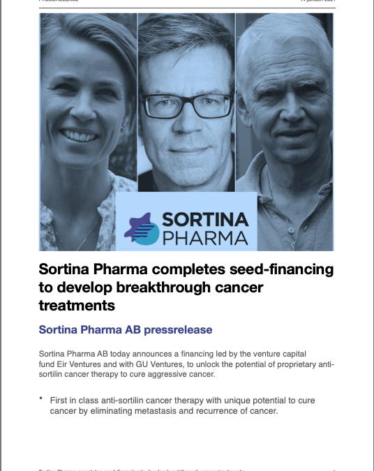 Eir Ventures completes seed-financing of Sortina Pharma with GU Ventures to develop breakthrough cancer treatments